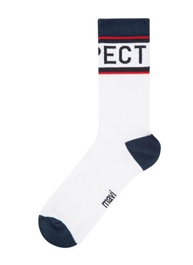 Mavi Respect Baskılı  Soket Çorap Beyaz